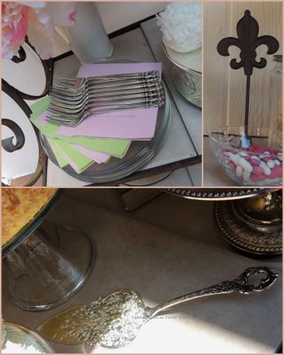Patisserie de Paris - Tablescapes at Table Twenty-One - Cake server, forks & napkins, dark fleur de lis collage