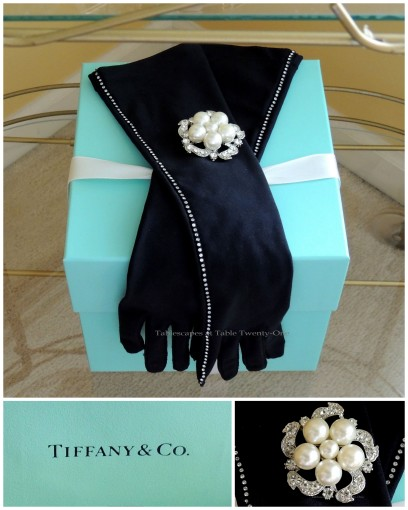 Tablescapes at Table Twenty-One - Breakfast at Tiffany's - Tea cart box, brooch, Tiffany's logo collage