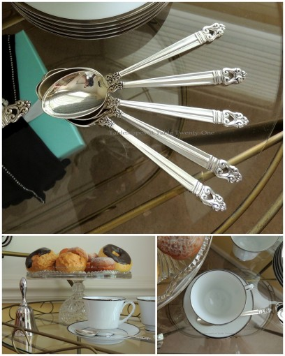Tablescapes at Table Twenty-One - Breakfast at Tiffany's - Teacart spoons, cups, pastries collage