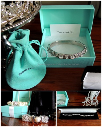 Tablescapes at Table Twenty-One - Breakfast at Tiffany's - Tiffany's boxes, pearl bracelets, tennis bracelet collage