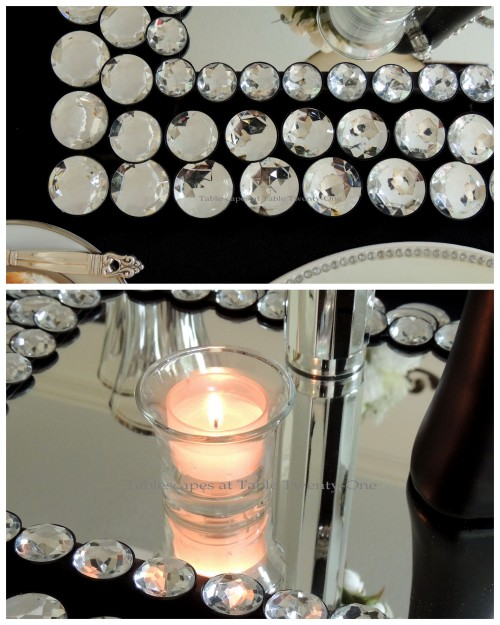 Tablescapes at Table Twenty-One - Breakfast at Tiffany's - Votive, runner corner collage