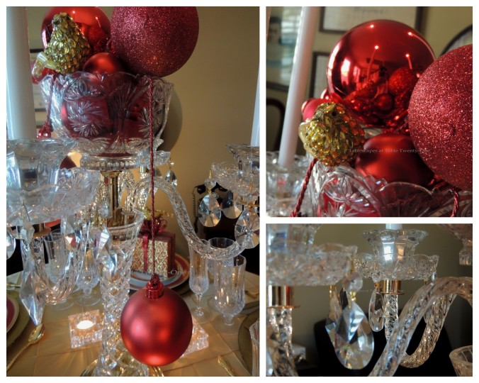 Tablescapes at Table Twenty-One: Christmas Through the Red Door - Centerpiece collage detail, I