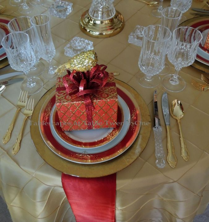 Tablescapes at Table Twenty-One: Christmas Through the Red Door - Red & gold place setting