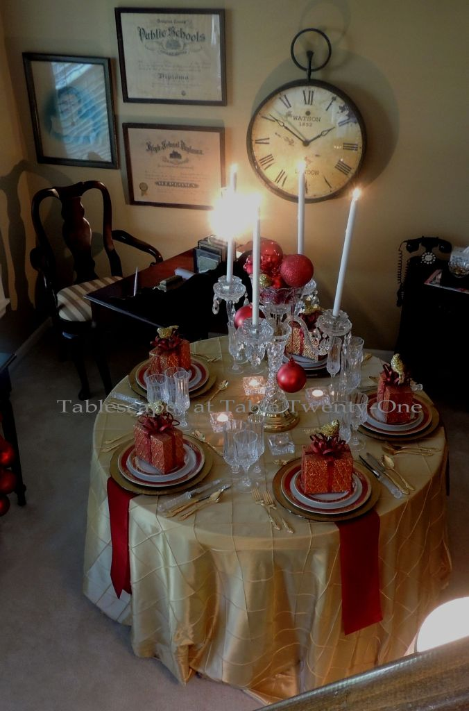 Tablescapes at Table Twenty-One:L Christmas Through the Red Door - full table