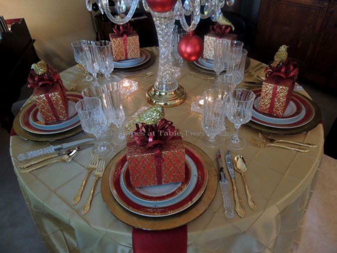Tablescapes at Table Twenty-One: Christmas Through the Red Door - Tabletop in red & gold