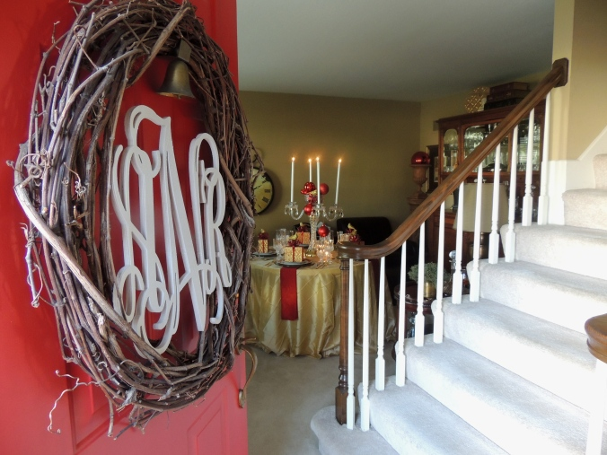 Tablescapes at Table Twenty- One: Front door wreath & library Christmas table in red & gold