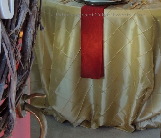 Tablescapes at Table Twenty-One: Christmas Through the Red Door - napkin drop, gold pintuck tablecloth