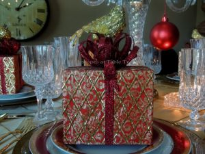 Tablescapes at Table Twenty-One: Christmas Through the Red Door - adorned gift box