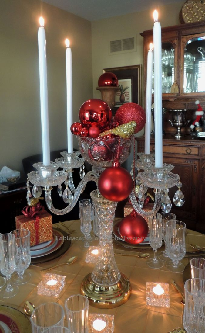 Tablescapes at Table Twenty-One: Christmas Through the Red Door - Crystal centerpiece