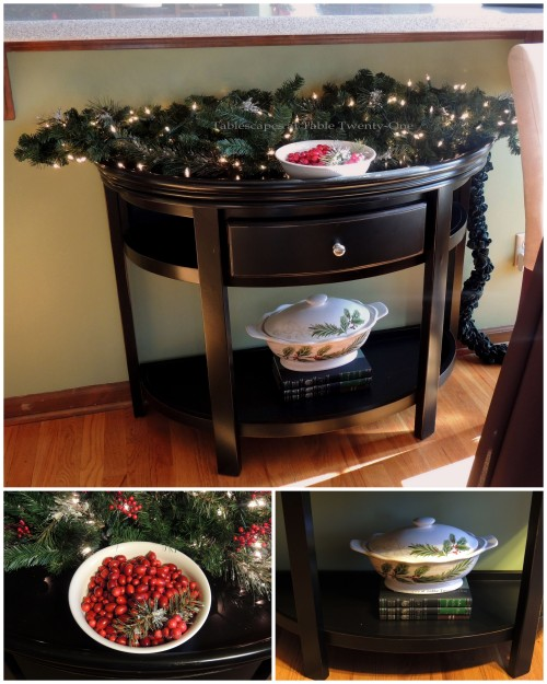 Tablescapes at Table Twenty-One, Christmas Coffee: Black table under breakfast bar collage