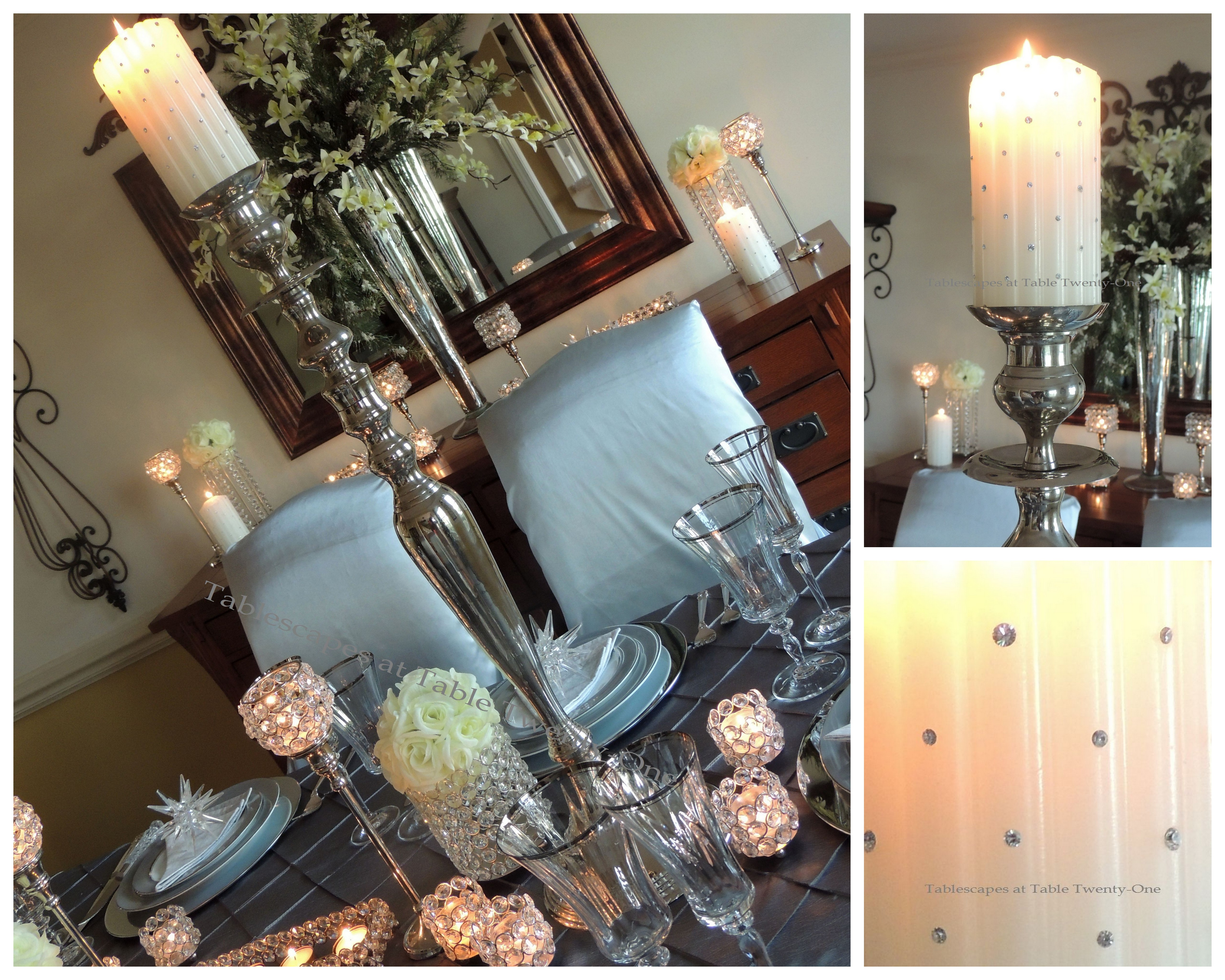 Tablescapes at Table Twenty-One, Platinum New Year's Eve Wedding: Candlestick collage
