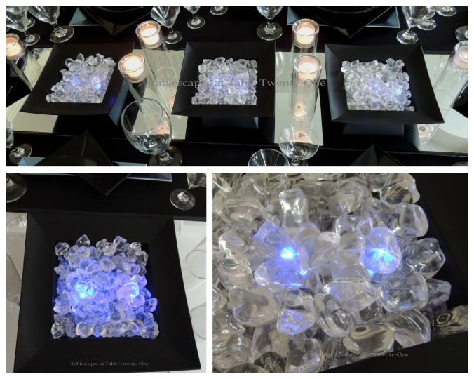 Tablescapes at Table Twenty-One, New Year's Eve Tablescape – Hooray for Vodka!: Centerpiece bowls of ice collage