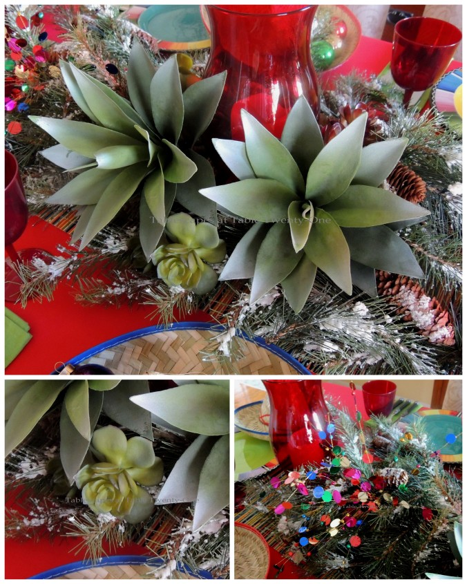 Tablescapes at Table Twenty-One – Christmas Fiesta: Centerpiece details