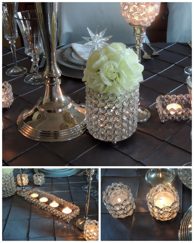 Tablescapes at Table Twenty-One, Platinum New Year's Eve Wedding: Centerpiece faceted candle holders collage