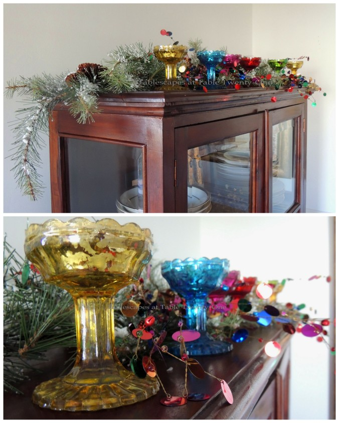 Tablescapes at Table Twenty-One – Christmas Fiesta: China cabinet collage