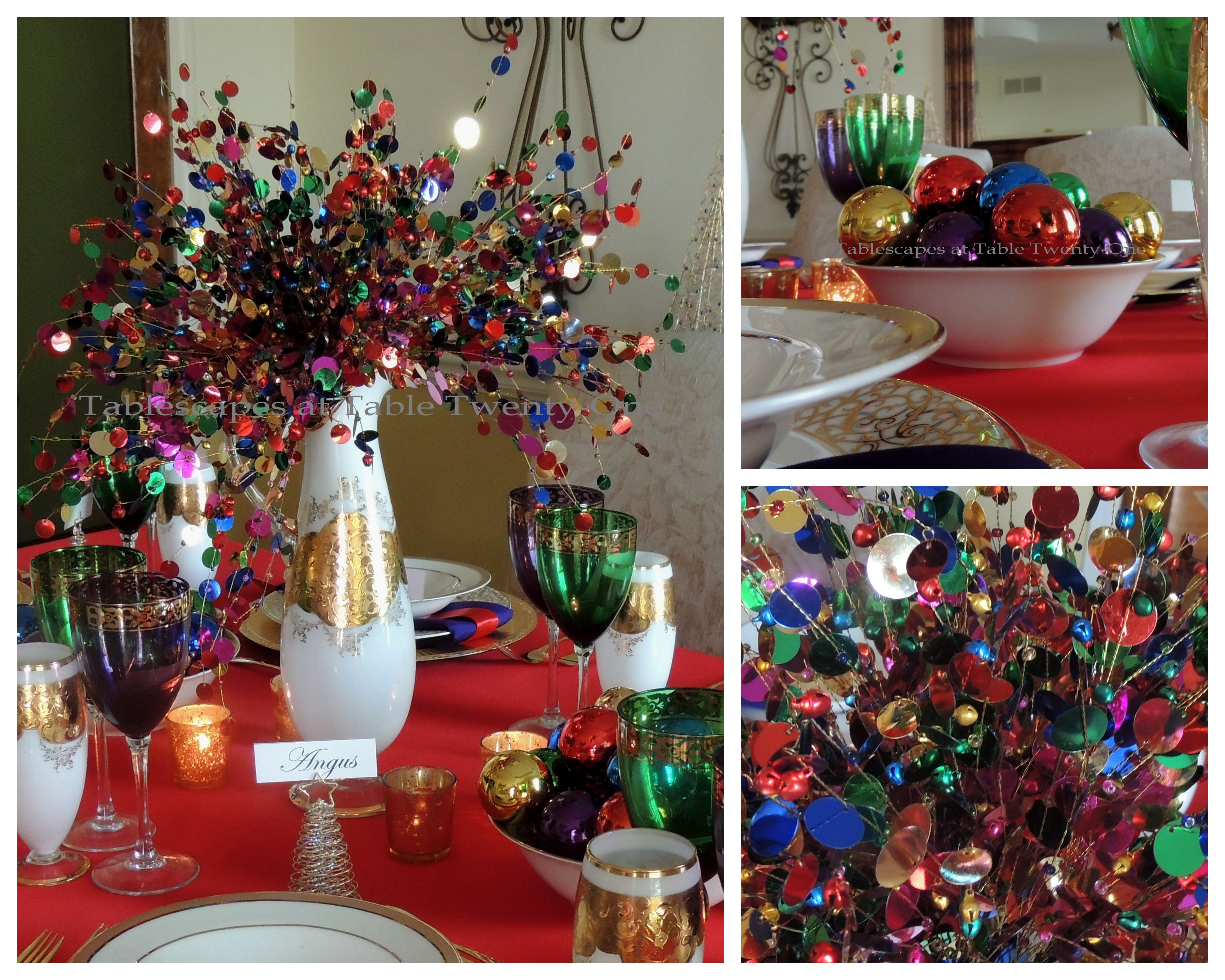 Tablescapes at Table Twenty-One, Merry & Bright Multi-Color Christmas: Centerpiece elements