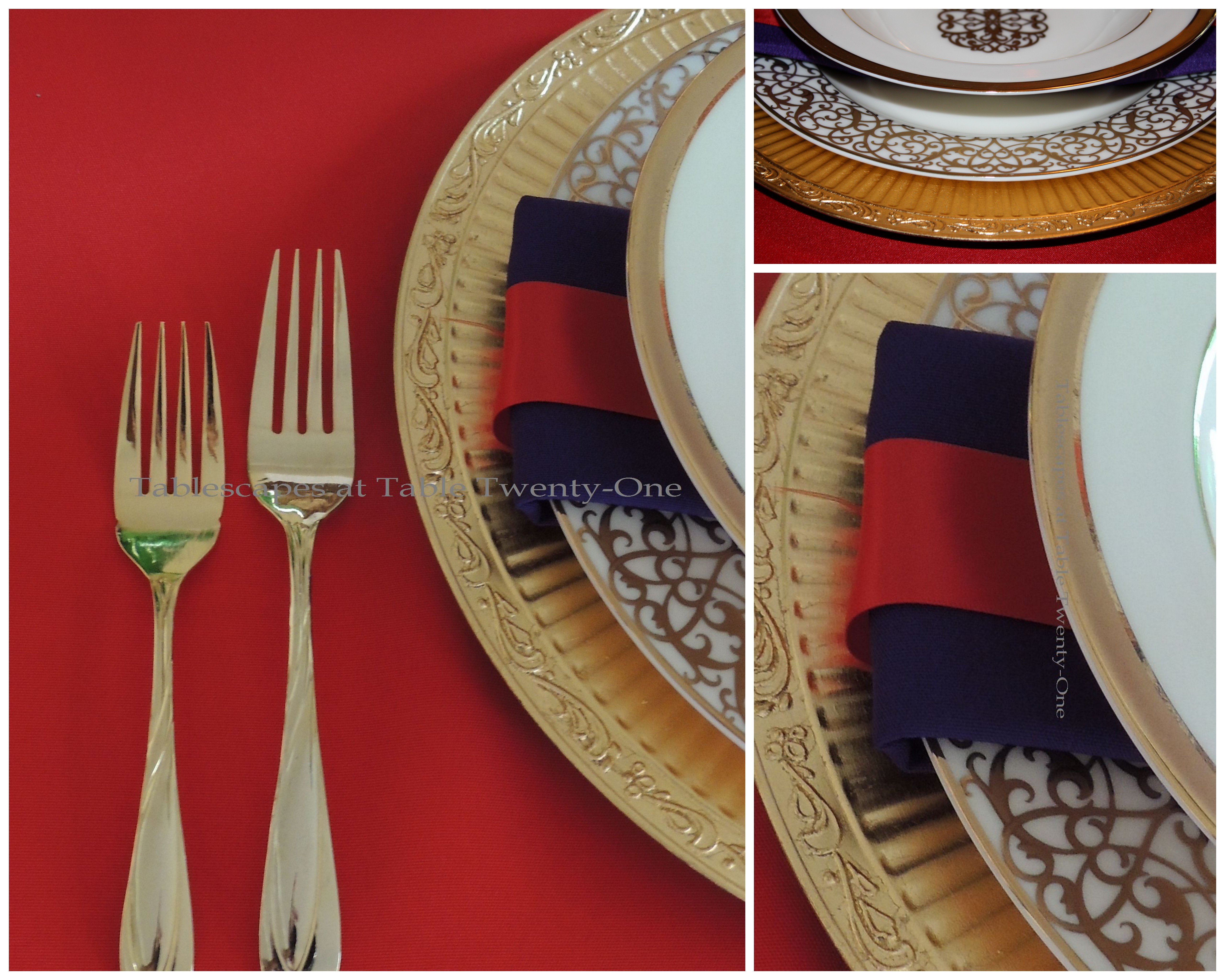 Tablescapes at Table Twenty-One, Merry & Bright Multi-Color Christmas: china rim shot, flatware, napkin treatment