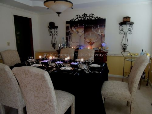 Tablescapes at Table Twenty-One, New Year's Eve Tablescape – Hooray for Vodka!: Full dining room - lights dimmed