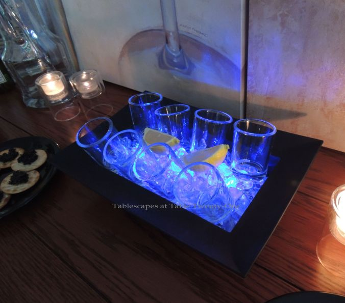 Tablescapes at Table Twenty-One, New Year's Eve Tablescape – Hooray for Vodka!: Shot glasses in ice with lemon wedges