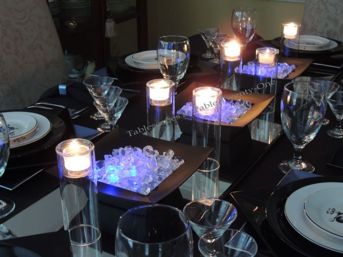 Tablescapes at Table Twenty-One, New Year's Eve Tablescape – Hooray for Vodka!: Full centerpiece