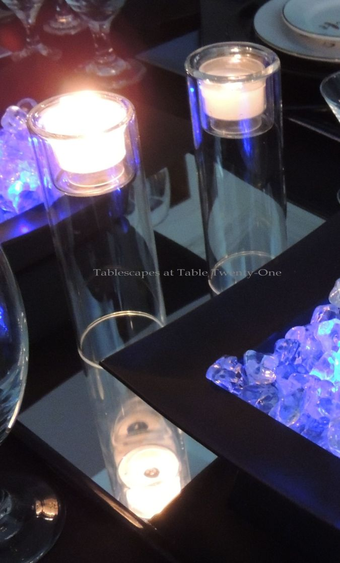 Tablescapes at Table Twenty-One, New Year's Eve Tablescape – Hooray for Vodka!: Centerpiece double-decker glass votive holders