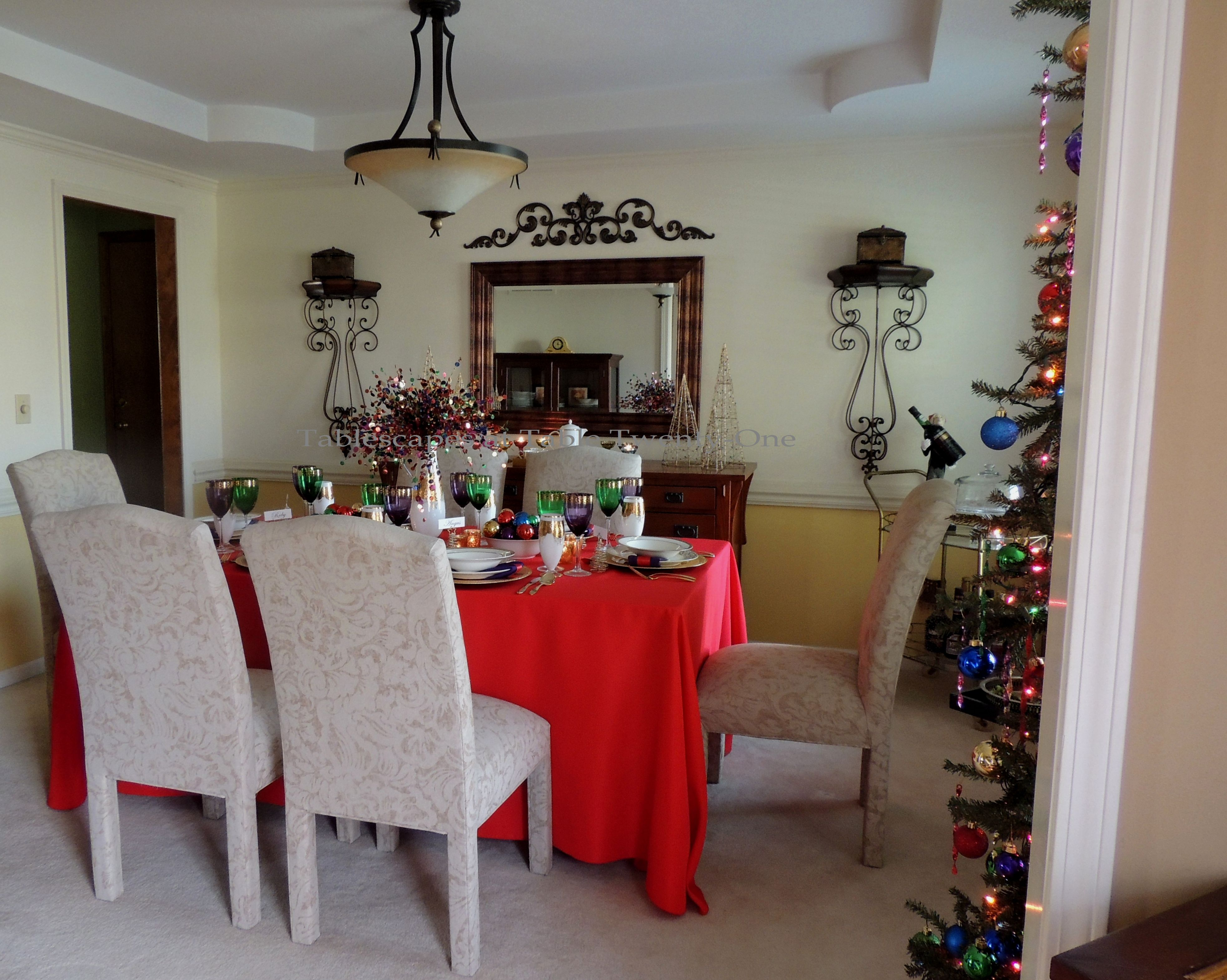 Tablescapes at Table Twenty-One, Merry & Bright Multi-Color Christmas: Full dining room