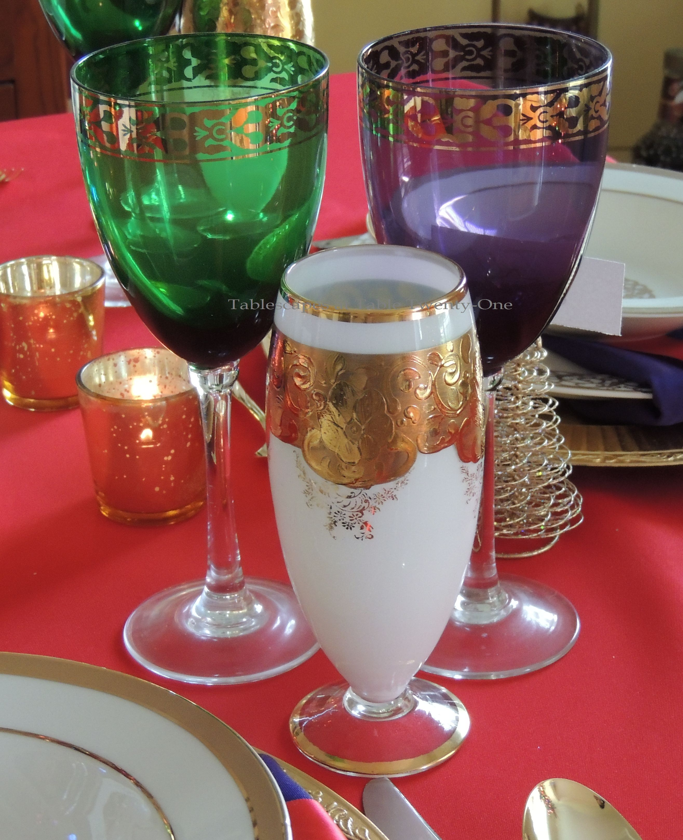 Tablescapes at Table Twenty-One, Merry & Bright Multi-Color Christmas: Stemware trio