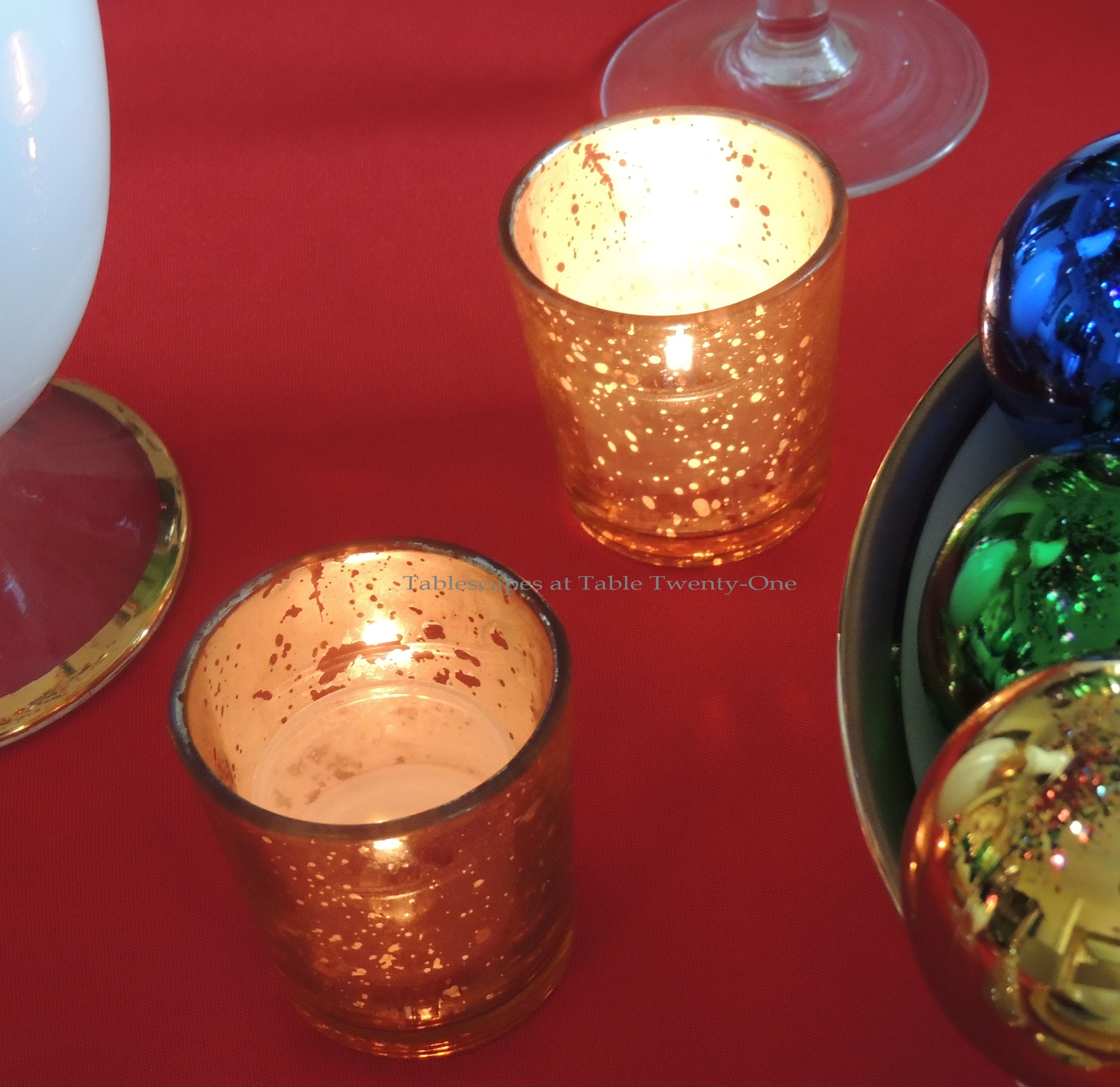 Tablescapes at Table Twenty-One, Merry & Bright Multi-Color Christmas: Gold mercury glass votive holders