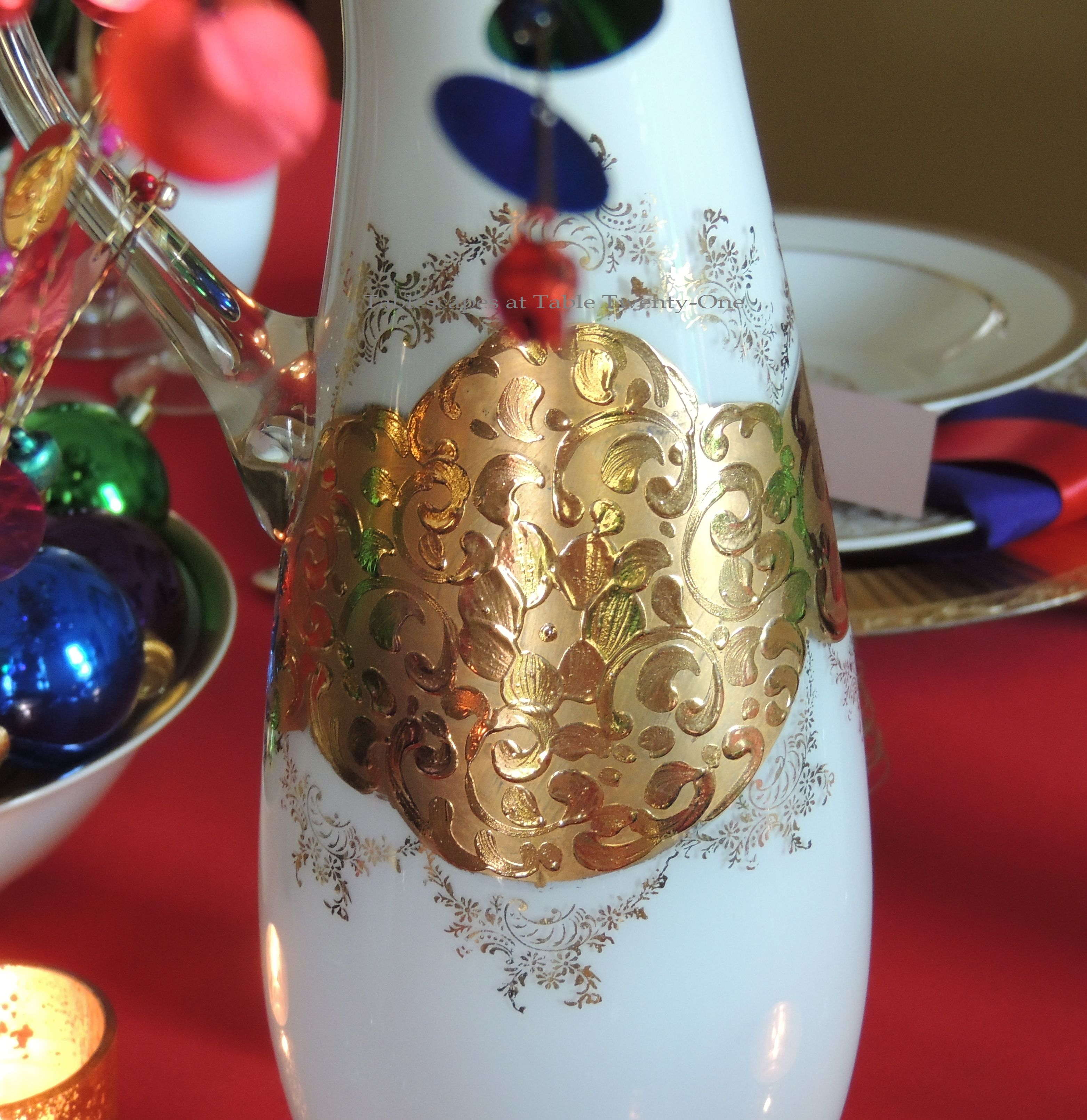 Tablescapes at Table Twenty-One, Merry & Bright Multi-Color Christmas: Pitcher design