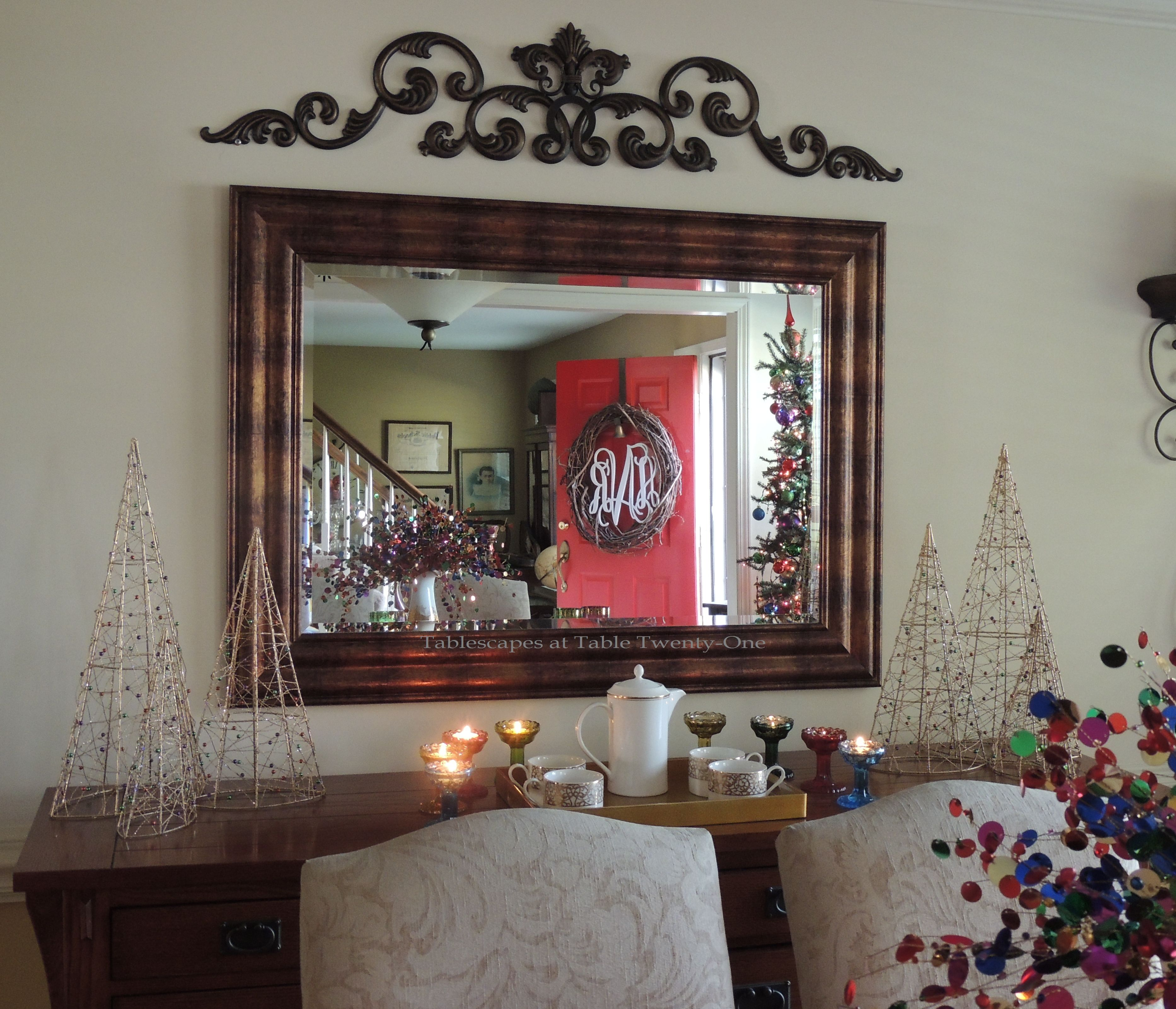 Tablescapes at Table Twenty-One, Merry & Bright Multi-Color Christmas: Buffet decor