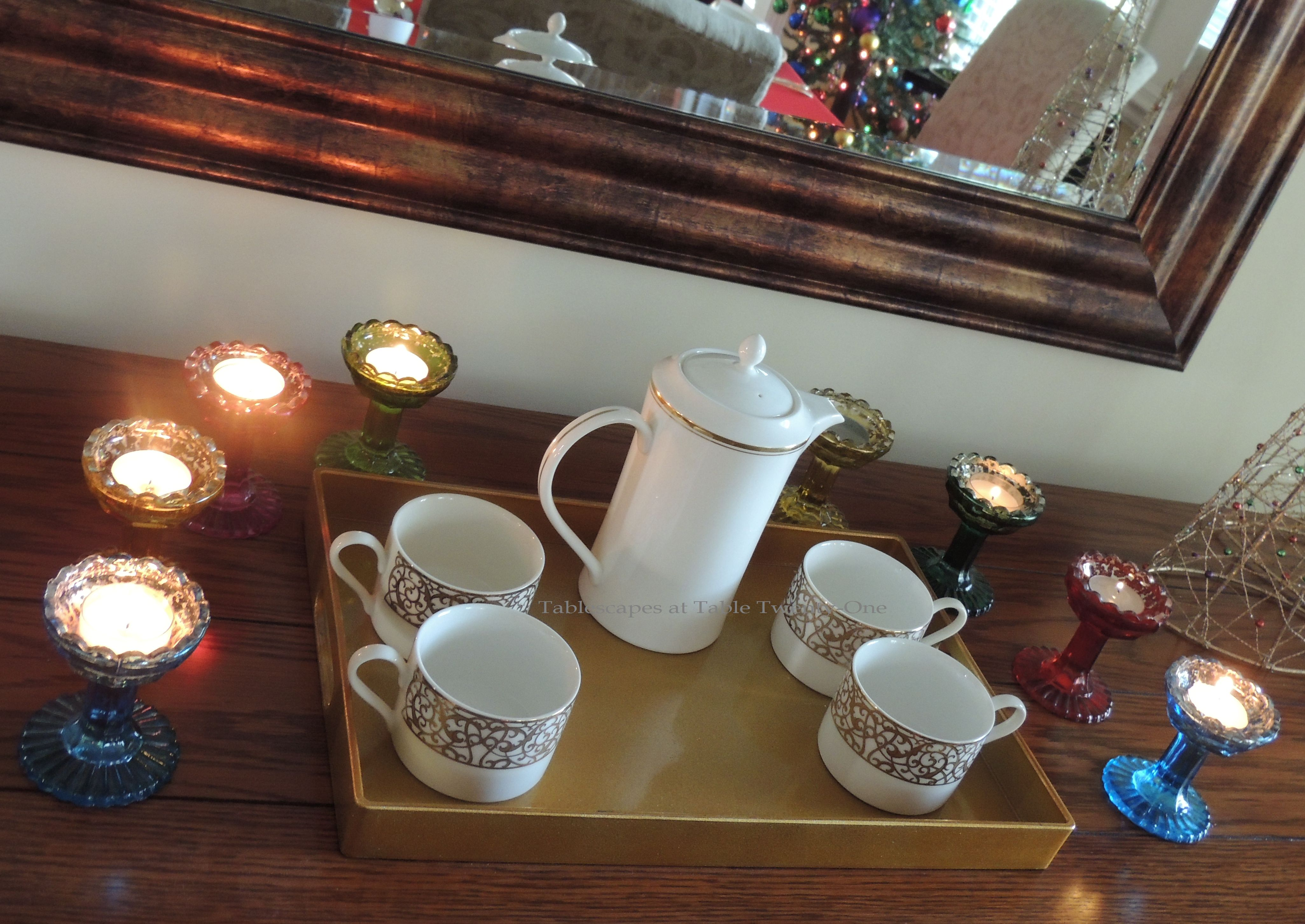 Tablescapes at Table Twenty-One, Merry & Bright Multi-Color Christmas: Coffee service tray