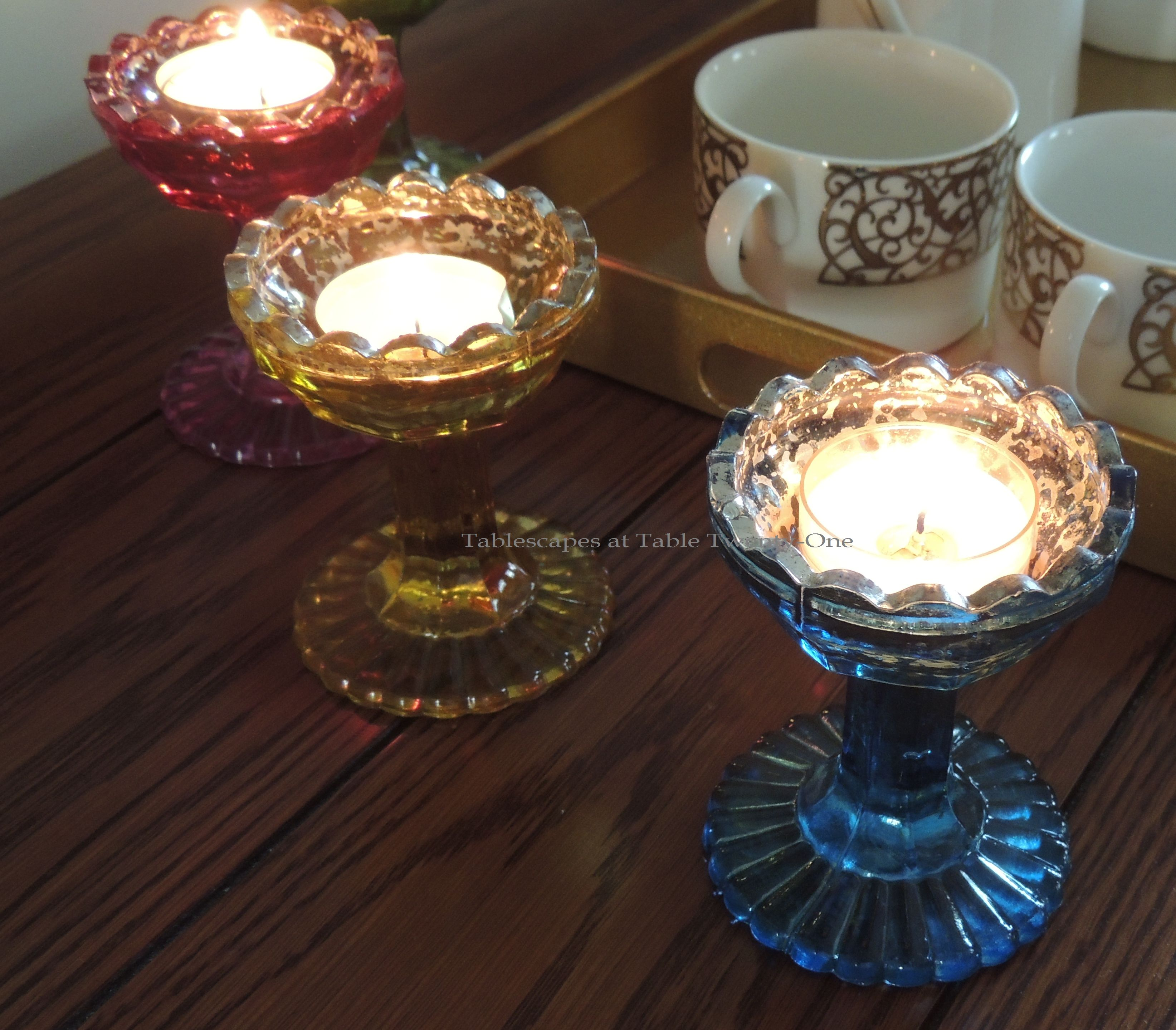 Tablescapes at Table Twenty-One, Merry & Bright Multi-Color Christmas: Colored mercury glass votive holders