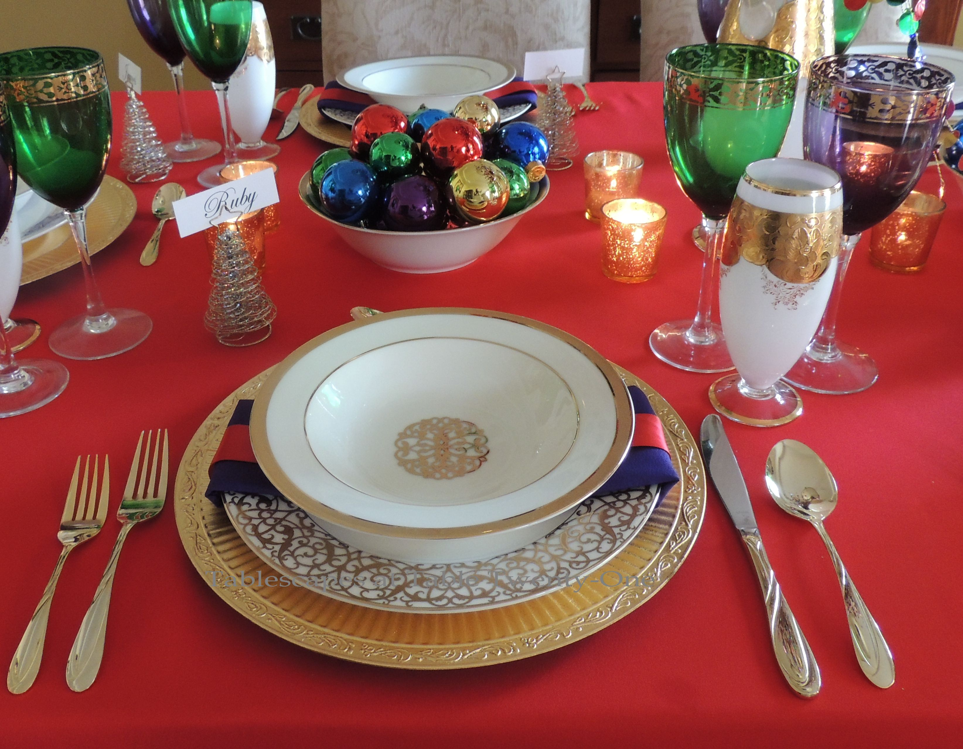 Tablescapes at Table Twenty-One, Merry & Bright Multi-Color Christmas: Place setting