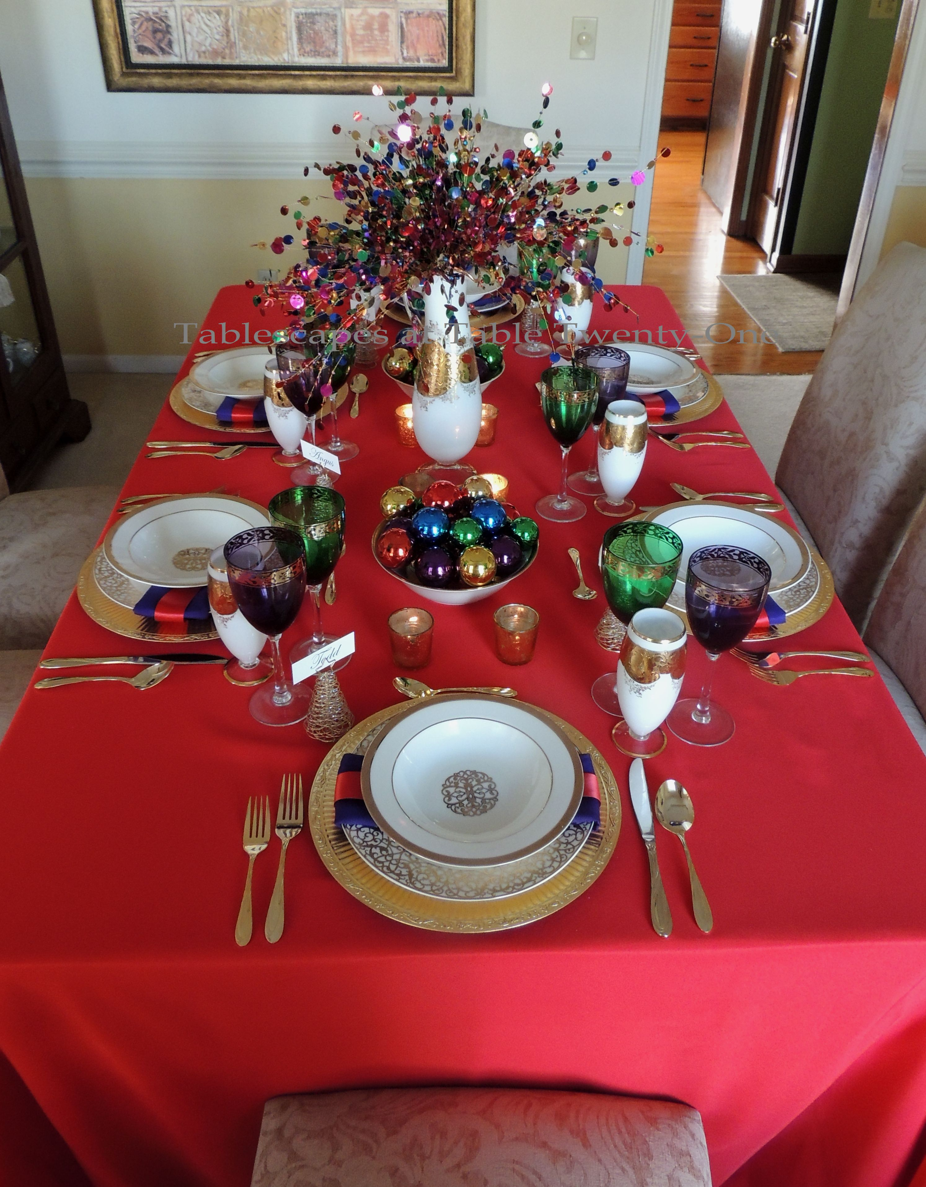 Tablescapes at Table Twenty-One, Merry & Bright Multi-Color Christmas: Full table lengthwise