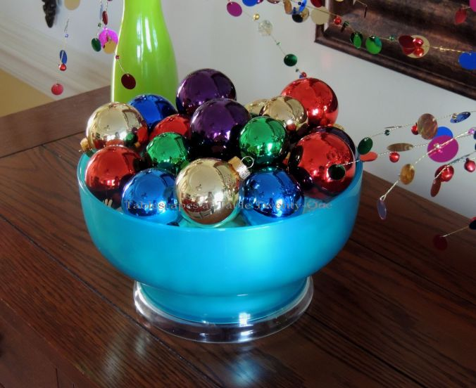 Tablescapes at Table Twenty-One, Kaleidoscope Christmas - Multi-Color Kids' Tablescape: Bowl of colorful Christmas ornaments