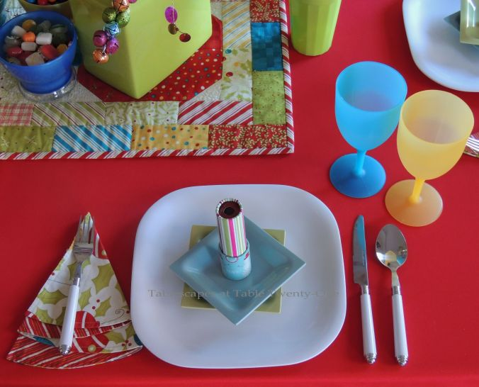Tablescapes at Table Twenty-One, Kaleidoscope Christmas - Multi-Color Kids' Tablescape: Place setting