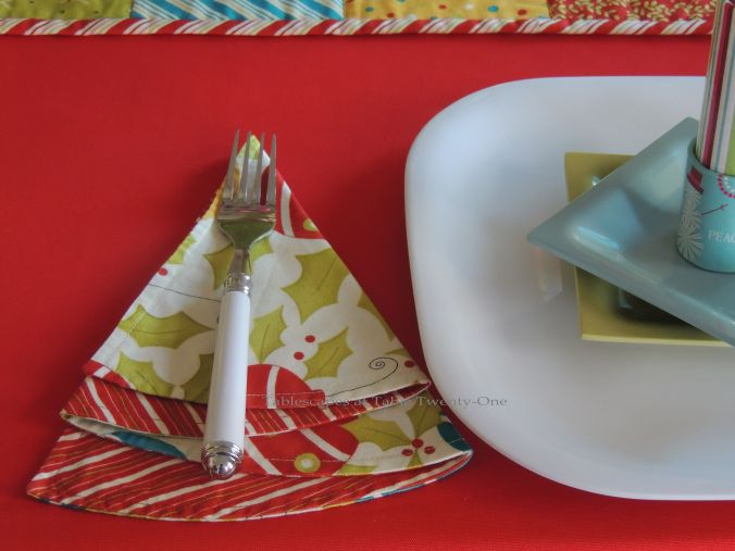 Tablescapes at Table Twenty-One, Kaleidoscope Christmas - Multi-Color Kids' Tablescape: Flatware & Christmas tree napkin
