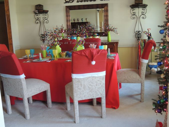 Tablescapes at Table Twenty-One, Kaleidoscope Christmas - Multi-Color Kids' Tablescape: Full dining room