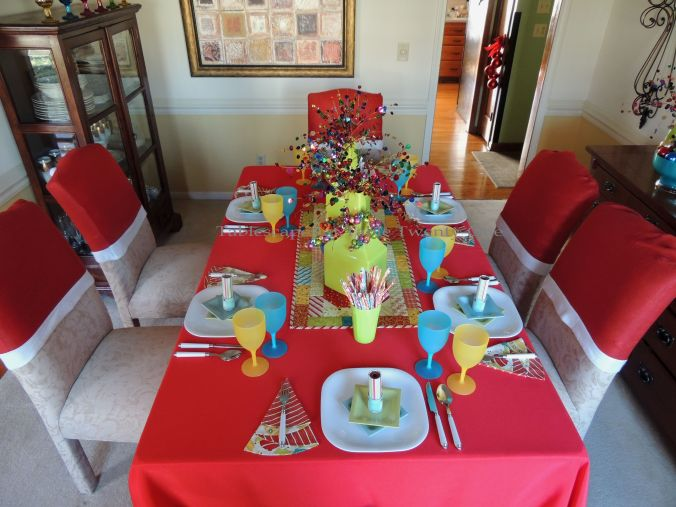 Tablescapes at Table Twenty-One, Kaleidoscope Christmas - Multi-Color Kids' Tablescape: table lengthwise