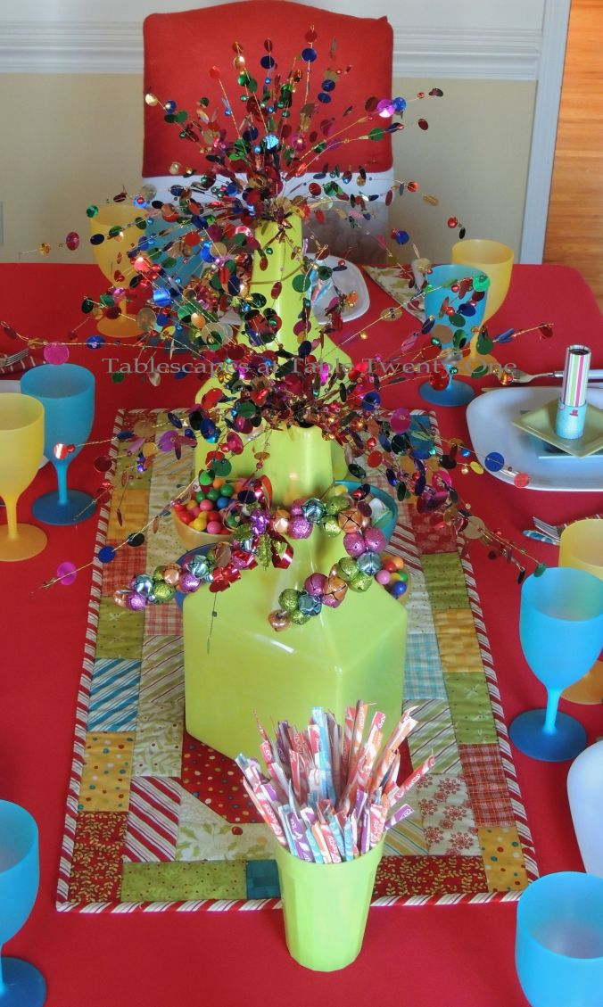 Tablescapes at Table Twenty-One, Kaleidoscope Christmas - Multi-Color Kids' Tablescape: Full centerpiece