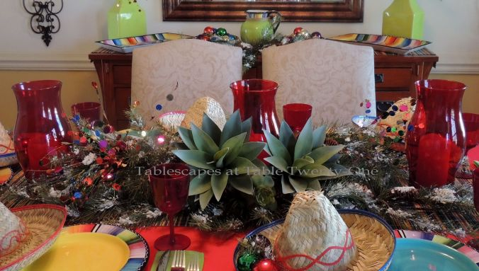 Tablescapes at Table Twenty-One – Christmas Fiesta: Full centerpiece
