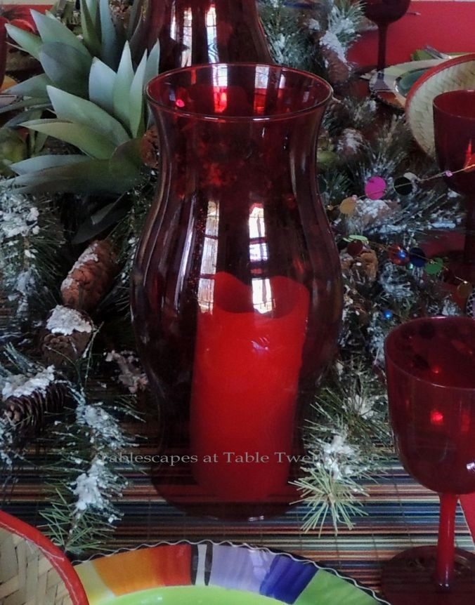 Tablescapes at Table Twenty-One – Christmas Fiesta: Red hurricane sleeve