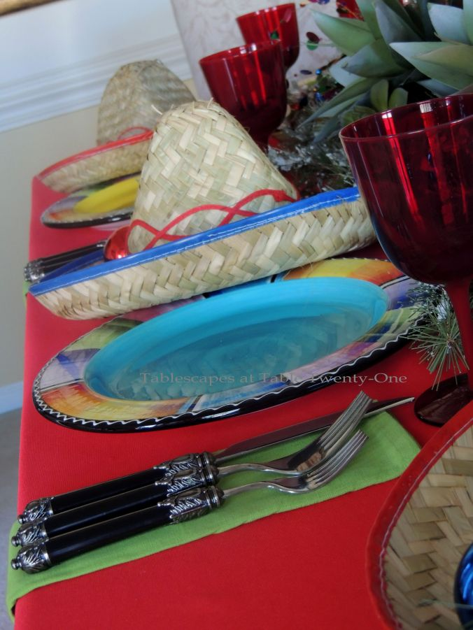 Tablescapes at Table Twenty-One – Christmas Fiesta: double place setting