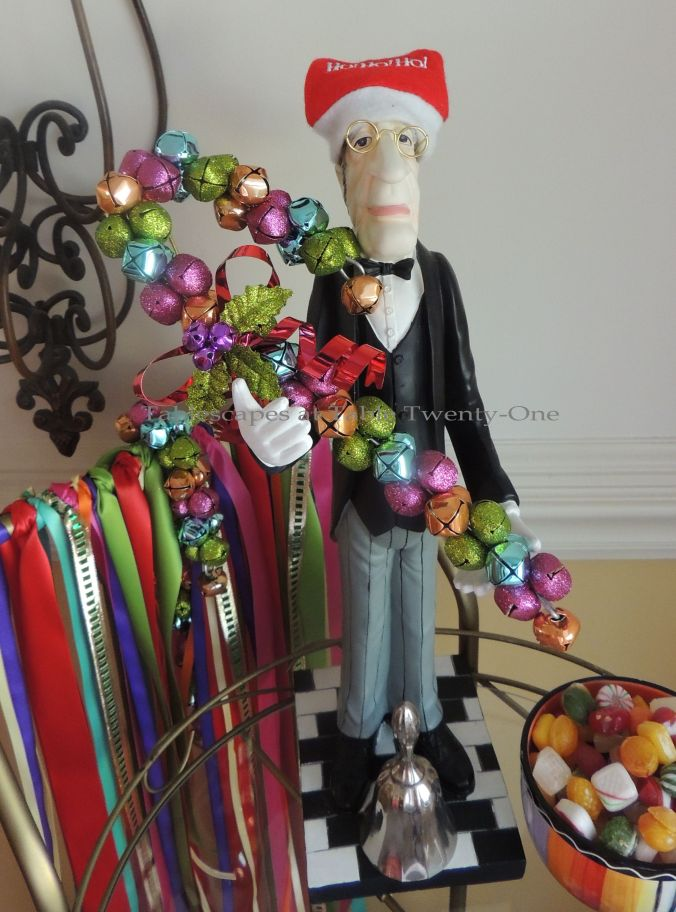 "Tablescapes at Table Twenty-One – Christmas Fiesta: ""Bennington"" the Butler with jingle bell candy cane"