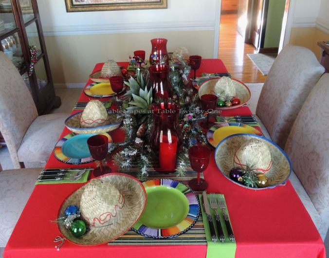 Tablescapes at Table Twenty-One – Christmas Fiesta: Full table, lengthwise