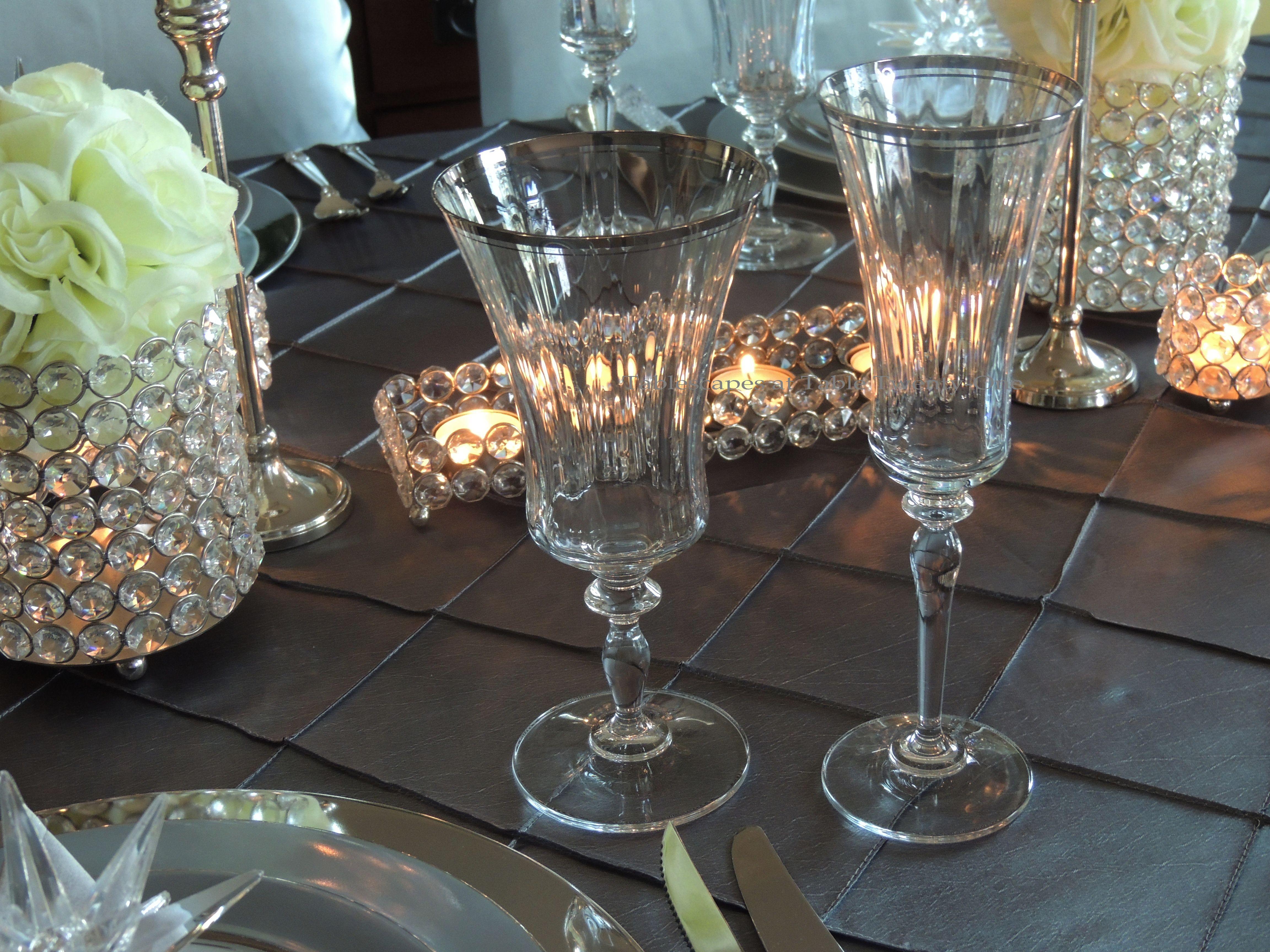Tablescapes at Table Twenty-One, Platinum New Year's Eve Wedding: Stemware - Jamestown Platinum