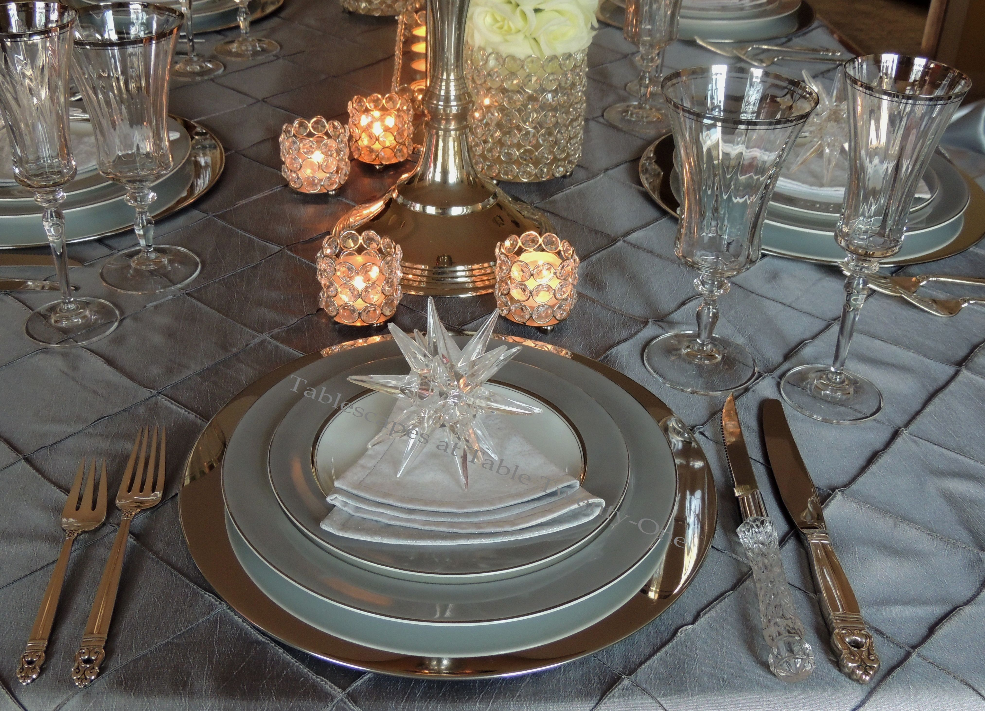 Tablescapes at Table Twenty-One, Platinum New Year's Eve Wedding: Place setting