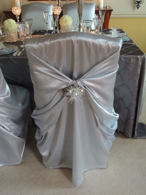 Tablescapes at Table Twenty-One, Platinum New Year's Eve Wedding: Dining chair with embellishment