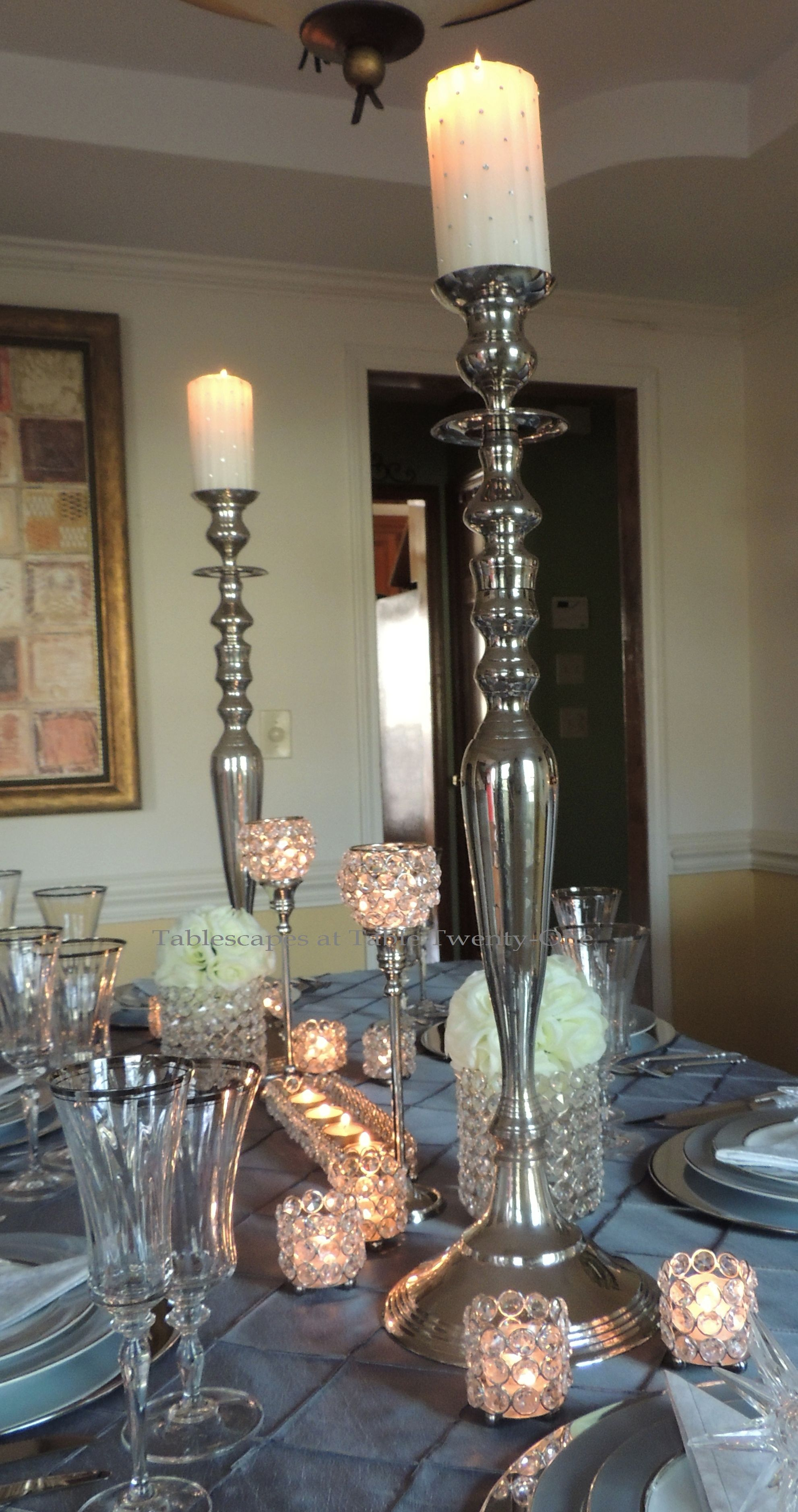 Tablescapes at Table Twenty-One, Platinum New Year's Eve Wedding: Full centerpiece