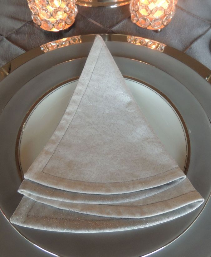 INSPIRATION: Sparkling silver & white Christmas tree napkin created by my friend & neighbor, Barbara.